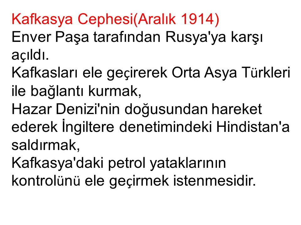 Kafkasya Cephesi(Aralık 1914) Enver Paşa tarafından Rusya ya karşı a ç ıldı.