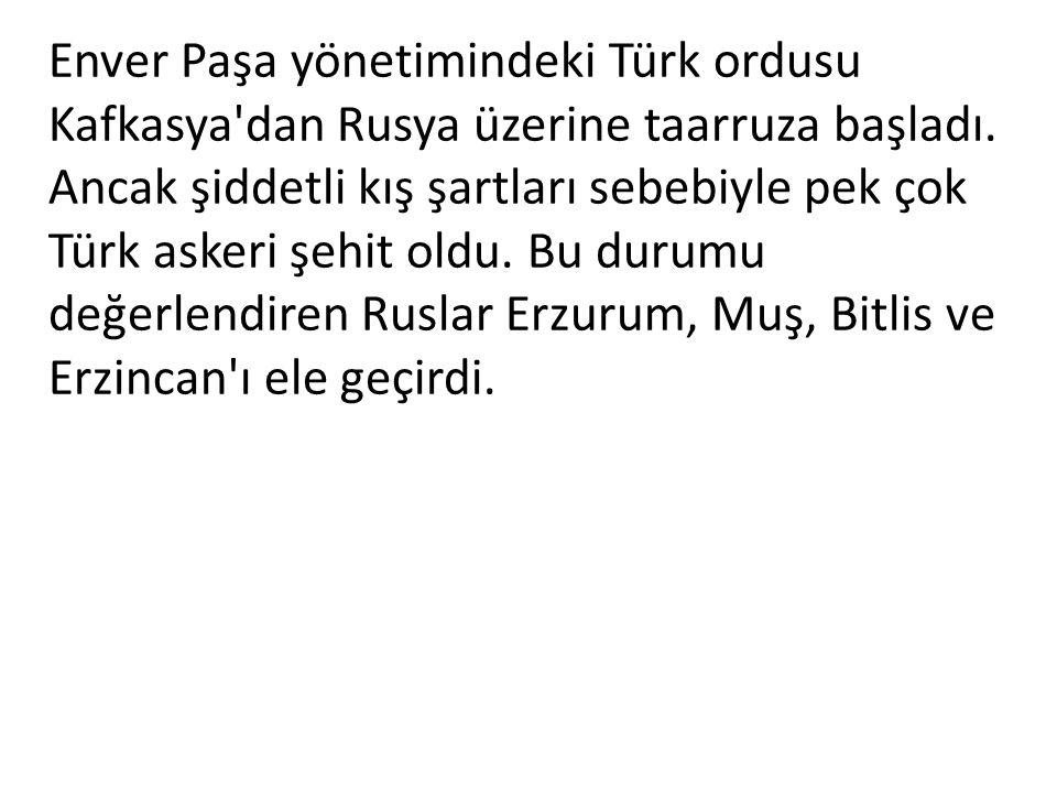 Enver Paşa yönetimindeki Türk ordusu Kafkasya dan Rusya üzerine taarruza başladı.