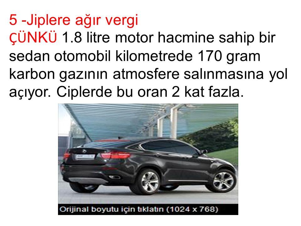 5 -Jiplere ağır vergi ÇÜ NK Ü 1.8 litre motor hacmine sahip bir sedan otomobil kilometrede 170 gram karbon gazının atmosfere salınmasına yol a ç ıyor.