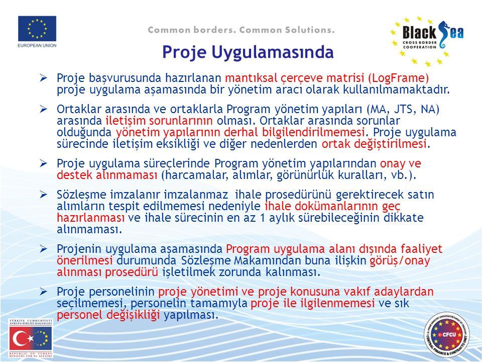 Proje Uygulamasında  Proje başvurusunda hazırlanan mantıksal çerçeve matrisi (LogFrame) proje uygulama aşamasında bir yönetim aracı olarak kullanılmamaktadır.