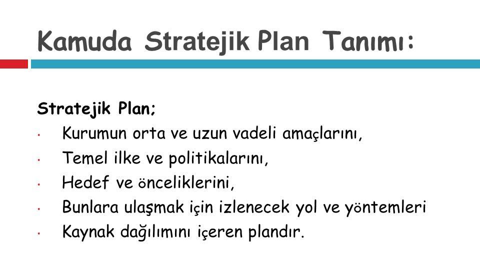 Kamuda S tratejik P lan Tanımı: Stratejik Plan; Kurumun orta ve uzun vadeli ama ç larını, Temel ilke ve politikalarını, Hedef ve ö nceliklerini, Bunlara ulaşmak i ç in izlenecek yol ve y ö ntemleri Kaynak dağılımını i ç eren plandır.