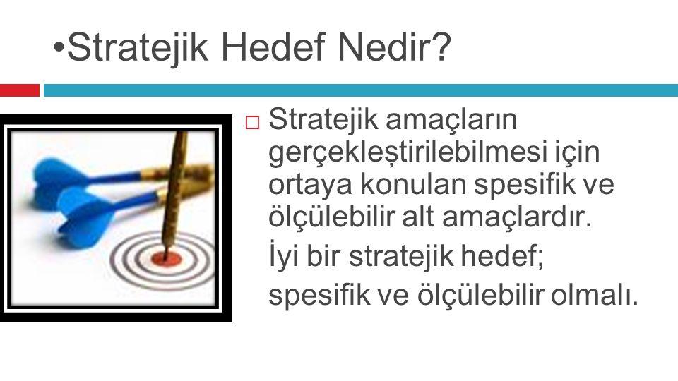 Stratejik Hedef Nedir?  Stratejik amaçların gerçekleştirilebilmesi için ortaya konulan spesifik ve ölçülebilir alt amaçlardır. İyi bir stratejik hede