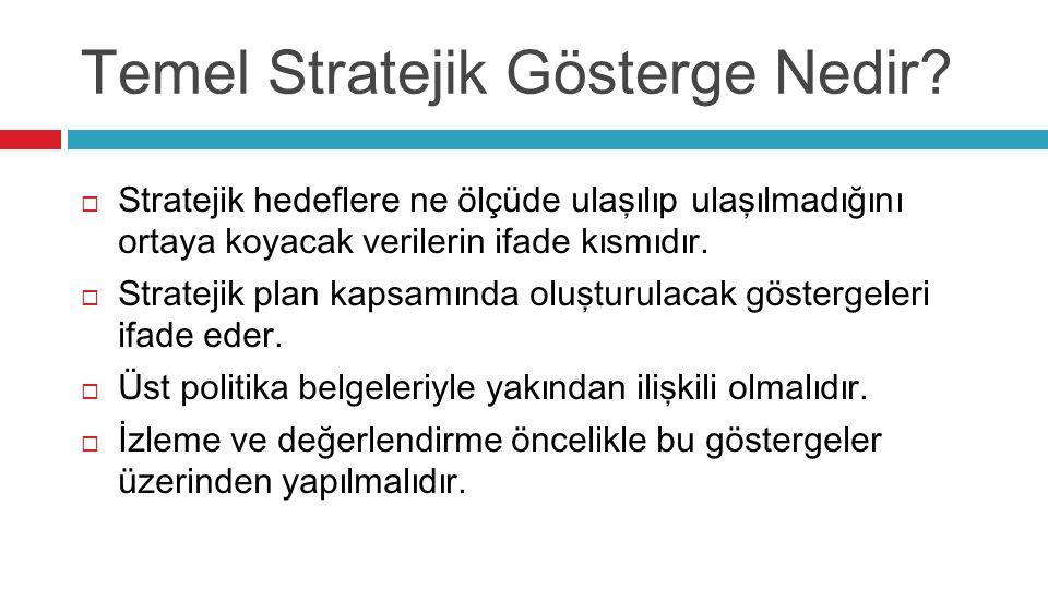 Temel Stratejik Gösterge Nedir?  Stratejik hedeflere ne ölçüde ulaşılıp ulaşılmadığını ortaya koyacak verilerin ifade kısmıdır.  Stratejik plan kaps