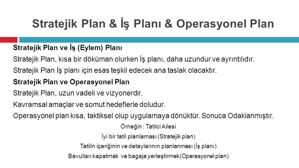 Stratejik Plan & İş Planı & Operasyonel Plan Stratejik Plan ve İş (Eylem) Planı Stratejik Plan, kısa bir döküman olurken İş planı, daha uzundur ve ayrıntılıdır.