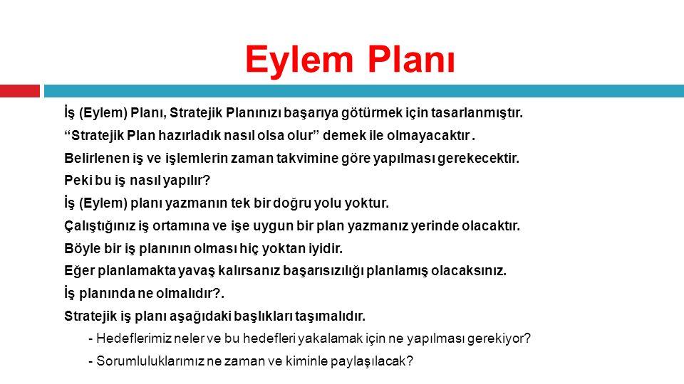 """Eylem Planı İş (Eylem) Planı, Stratejik Planınızı başarıya götürmek için tasarlanmıştır. """"Stratejik Plan hazırladık nasıl olsa olur"""" demek ile olmayac"""