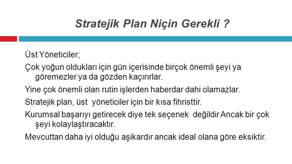 Stratejik Plan Niçin Gerekli ? Üst Yöneticiler; Çok yoğun oldukları için gün içerisinde birçok önemli şeyi ya göremezler ya da gözden kaçırırlar. Yine