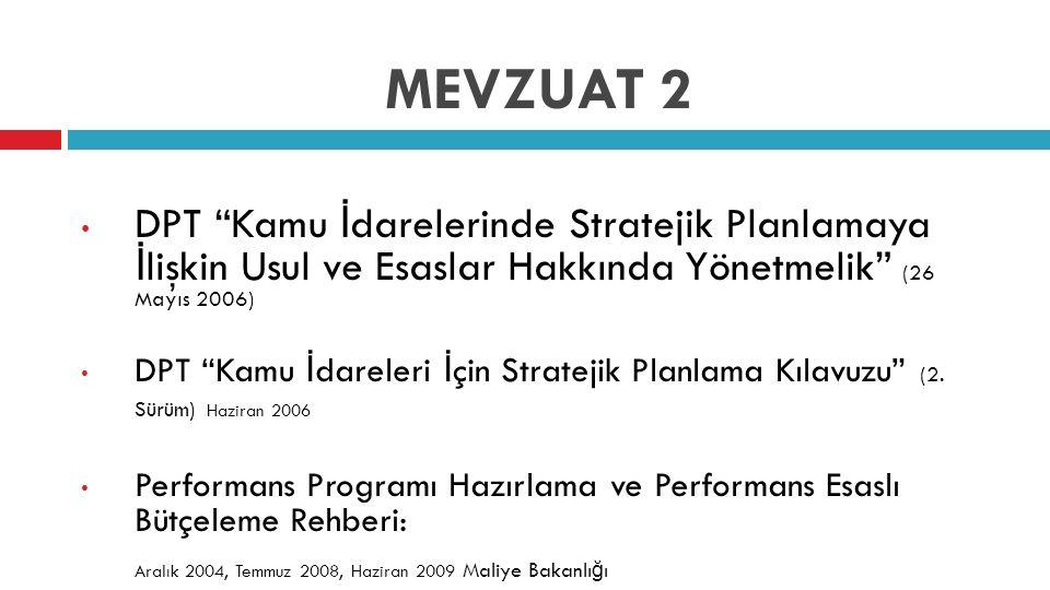 """MEVZUAT 2 DPT """"Kamu İ darelerinde Stratejik Planlamaya İ lişkin Usul ve Esaslar Hakkında Yönetmelik"""" (26 Mayıs 2006) DPT """"Kamu İ dareleri İ çin Strate"""