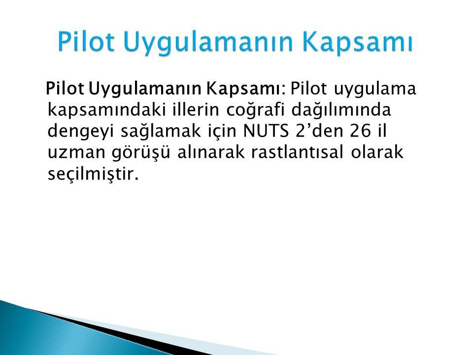 Pilot Uygulamanın Kapsamı: Pilot uygulama kapsamındaki illerin coğrafi dağılımında dengeyi sağlamak için NUTS 2'den 26 il uzman görüşü alınarak rastlantısal olarak seçilmiştir.