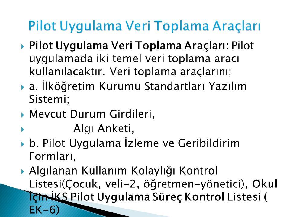  Pilot Uygulama Veri Toplama Araçları: Pilot uygulamada iki temel veri toplama aracı kullanılacaktır. Veri toplama araçlarını;  a. İlköğretim Kurumu