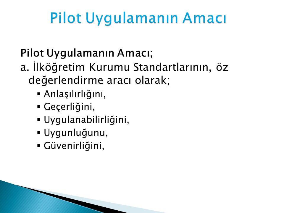 Pilot Uygulamanın Amacı; a. İlköğretim Kurumu Standartlarının, öz değerlendirme aracı olarak;  Anlaşılırlığını,  Geçerliğini,  Uygulanabilirliğini,