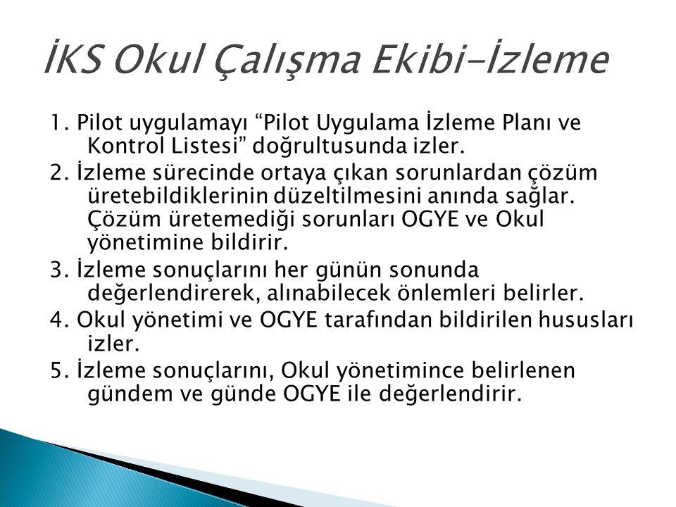 1. Pilot uygulamayı Pilot Uygulama İzleme Planı ve Kontrol Listesi doğrultusunda izler.