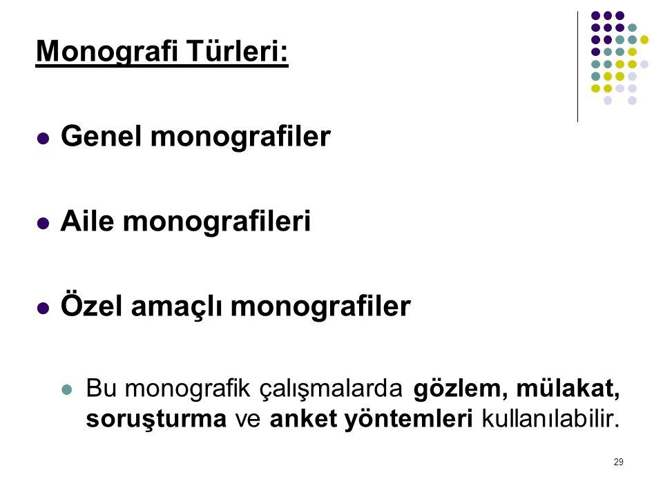 29 Monografi Türleri: Genel monografiler Aile monografileri Özel amaçlı monografiler Bu monografik çalışmalarda gözlem, mülakat, soruşturma ve anket yöntemleri kullanılabilir.