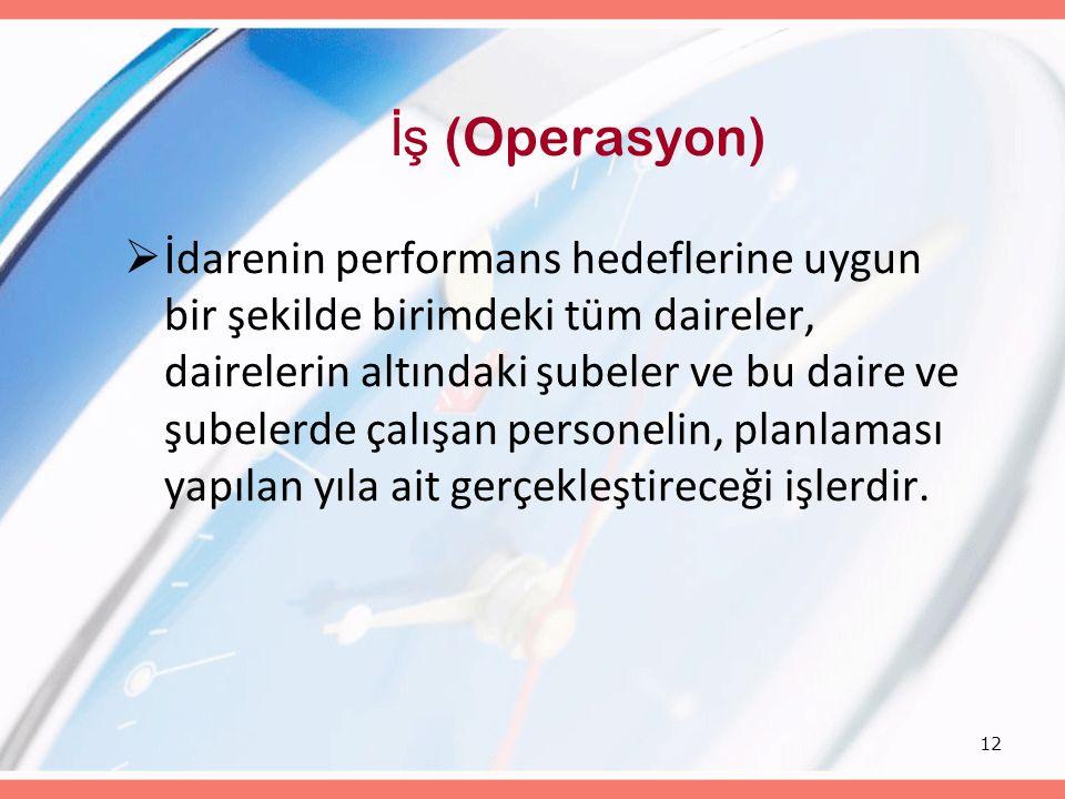 12 İş (Operasyon)  İdarenin performans hedeflerine uygun bir şekilde birimdeki tüm daireler, dairelerin altındaki şubeler ve bu daire ve şubelerde ça