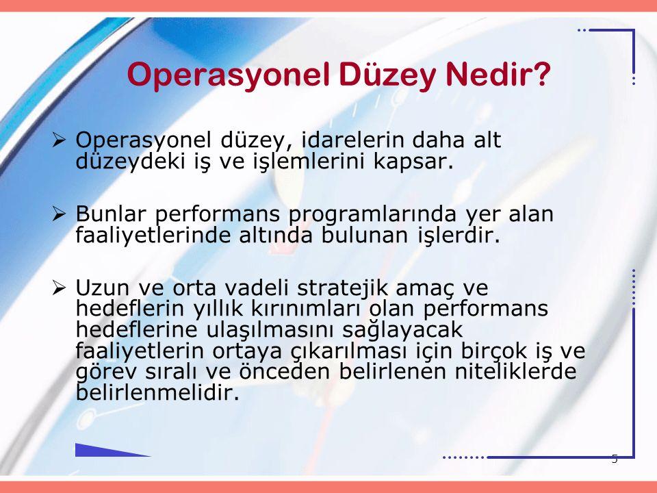 5 Operasyonel Düzey Nedir?  Operasyonel düzey, idarelerin daha alt düzeydeki iş ve işlemlerini kapsar.  Bunlar performans programlarında yer alan fa