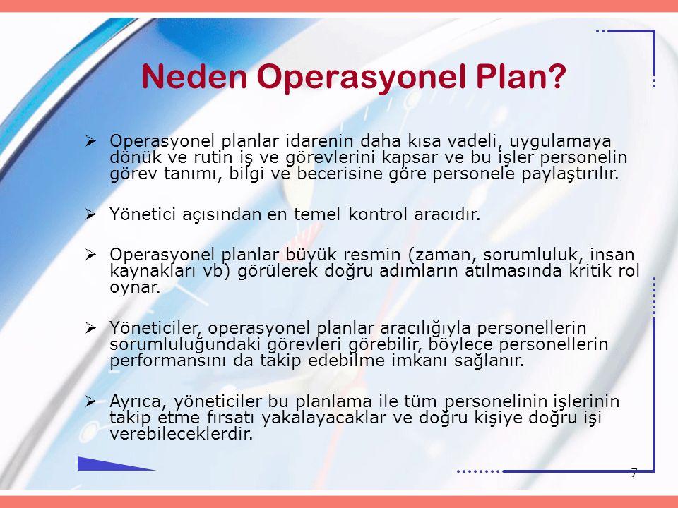 7 Neden Operasyonel Plan?  Operasyonel planlar idarenin daha kısa vadeli, uygulamaya dönük ve rutin iş ve görevlerini kapsar ve bu işler personelin g