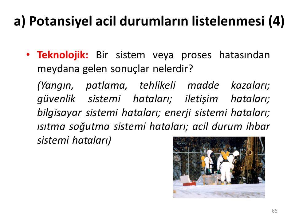 a) Potansiyel acil durumların listelenmesi (3) Coğrafi: Tesisin kurulduğu alanda meydana gelen olaylar nelerdir.