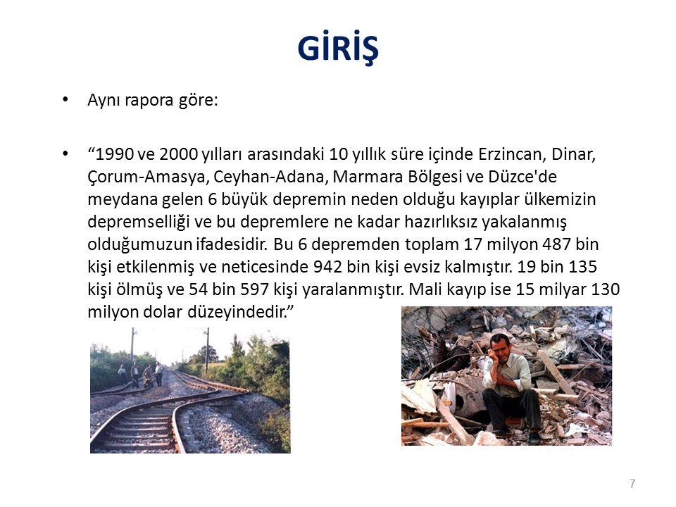 GİRİŞ Aynı rapora göre: 1990 ve 2000 yılları arasındaki 10 yıllık süre içinde Erzincan, Dinar, Çorum-Amasya, Ceyhan-Adana, Marmara Bölgesi ve Düzce de meydana gelen 6 büyük depremin neden olduğu kayıplar ülkemizin depremselliği ve bu depremlere ne kadar hazırlıksız yakalanmış olduğumuzun ifadesidir.