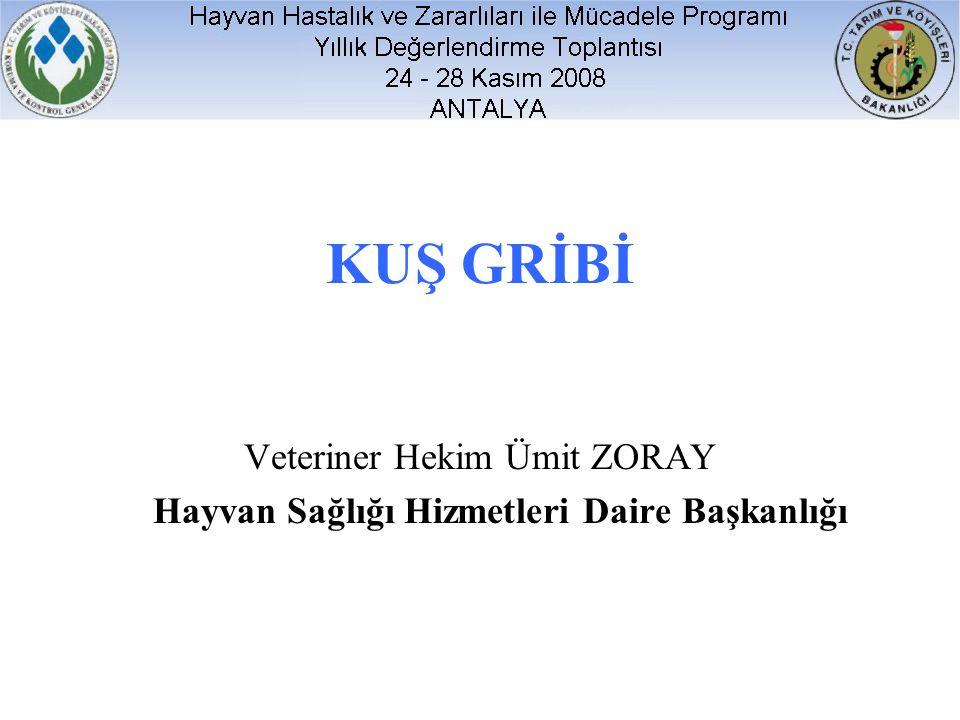 KUŞ GRİBİ Veteriner Hekim Ümit ZORAY Hayvan Sağlığı Hizmetleri Daire Başkanlığı