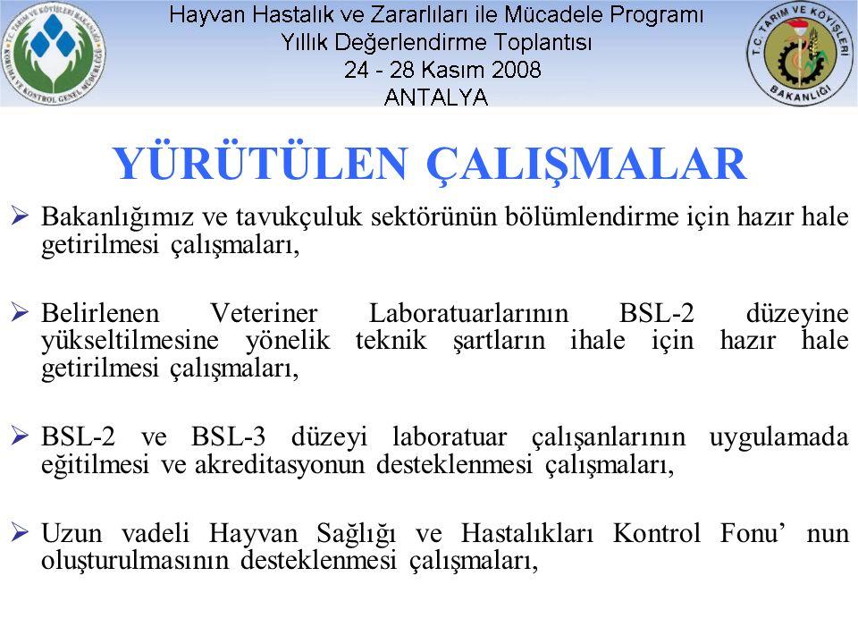 YÜRÜTÜLEN ÇALIŞMALAR  Bakanlığımız ve tavukçuluk sektörünün bölümlendirme için hazır hale getirilmesi çalışmaları,  Belirlenen Veteriner Laboratuarlarının BSL-2 düzeyine yükseltilmesine yönelik teknik şartların ihale için hazır hale getirilmesi çalışmaları,  BSL-2 ve BSL-3 düzeyi laboratuar çalışanlarının uygulamada eğitilmesi ve akreditasyonun desteklenmesi çalışmaları,  Uzun vadeli Hayvan Sağlığı ve Hastalıkları Kontrol Fonu' nun oluşturulmasının desteklenmesi çalışmaları,