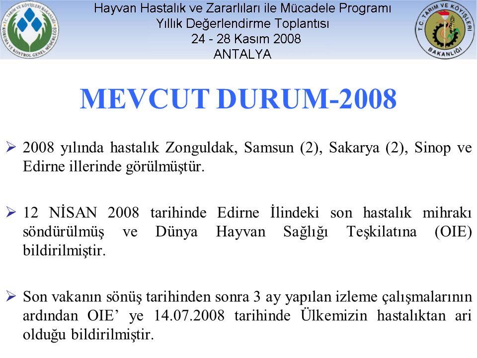 MEVCUT DURUM-2008  2008 yılında hastalık Zonguldak, Samsun (2), Sakarya (2), Sinop ve Edirne illerinde görülmüştür.