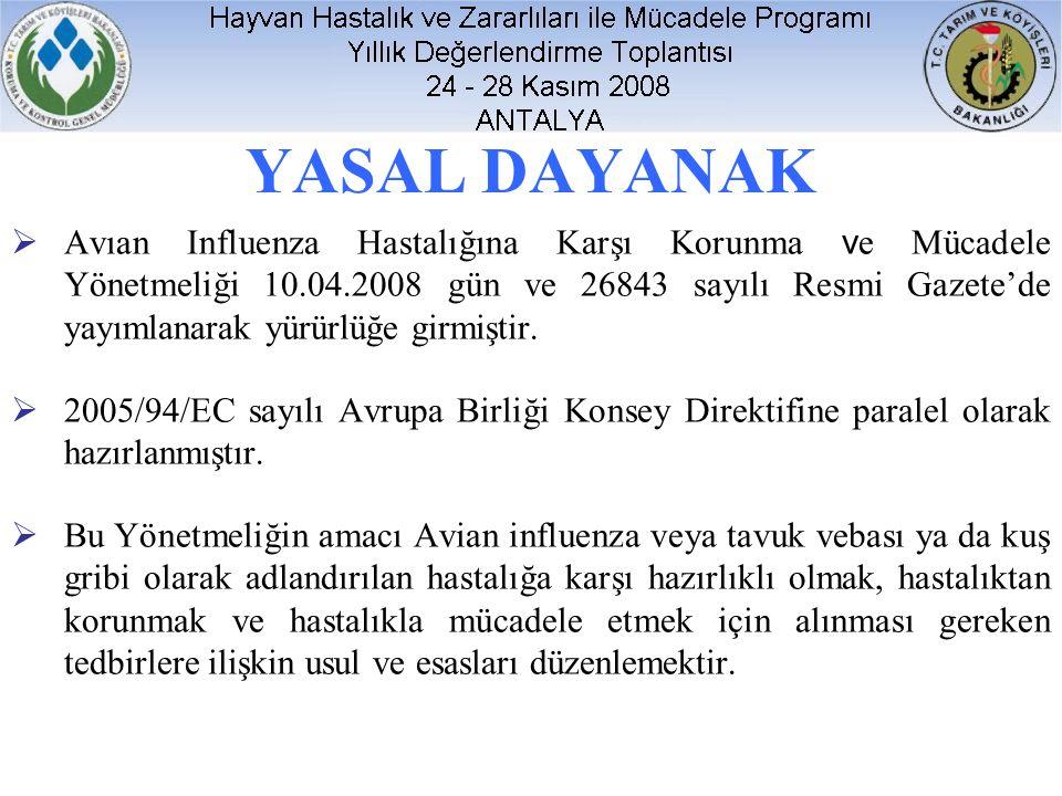 YASAL DAYANAK  Avıan Influenza Hastalığına Karşı Korunma v e Mücadele Yönetmeliği 10.04.2008 gün ve 26843 sayılı Resmi Gazete'de yayımlanarak yürürlüğe girmiştir.