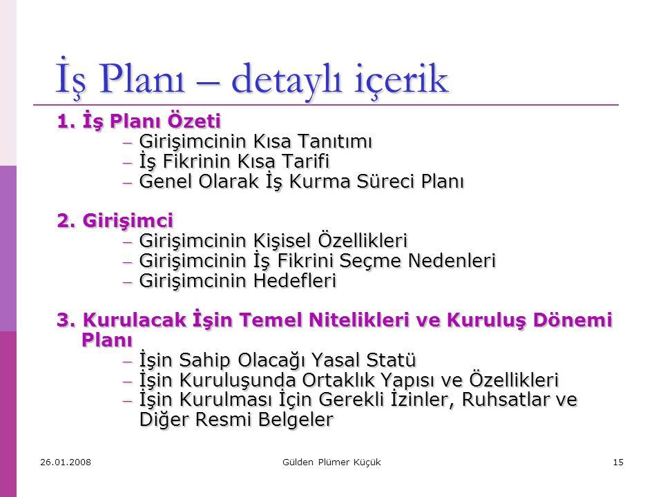 İş Planı – özet içerik 1. İş Planı Özeti 2. Girişimci 3.