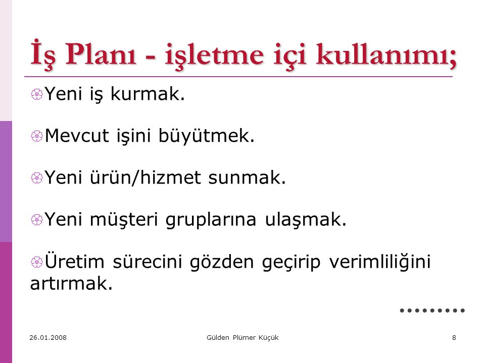8.Yatırım Harcamaları - örnekler 1. Arazi Temin Giderleri 2.