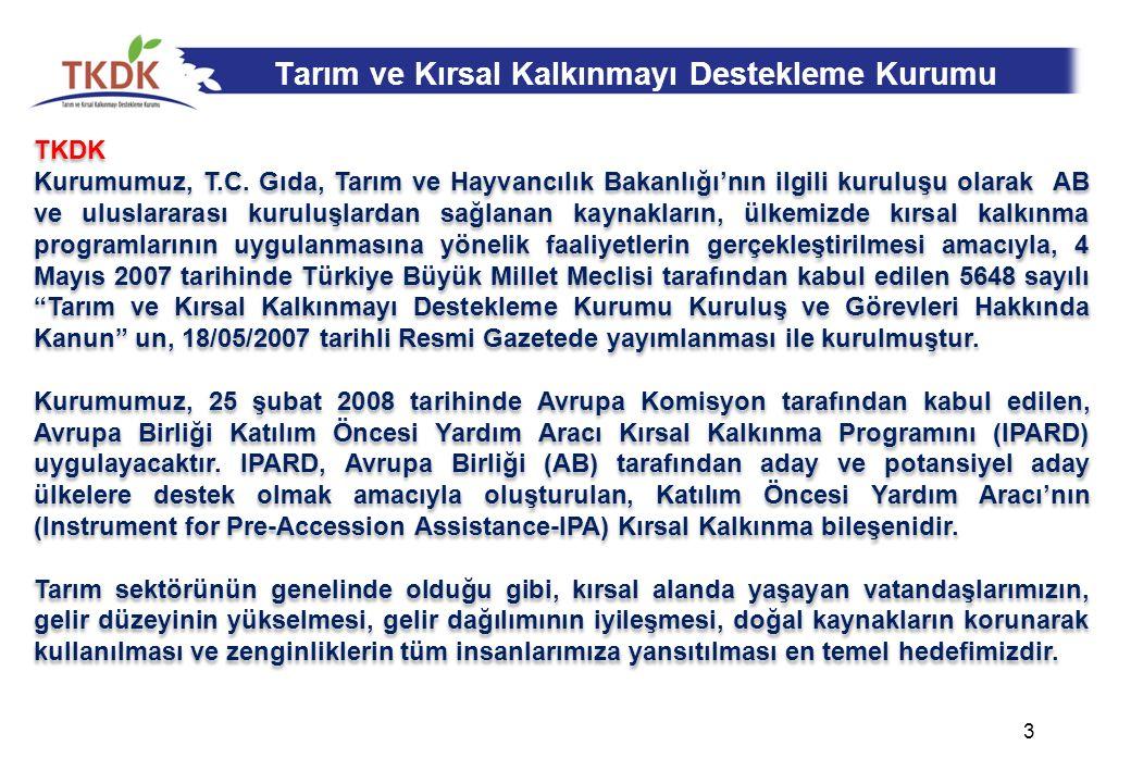 Tarım ve Kırsal Kalkınmayı Destekleme Kurumu TKDK Kurumumuz, T.C.
