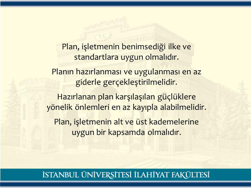 Plan, işletmenin benimsediği ilke ve standartlara uygun olmalıdır.