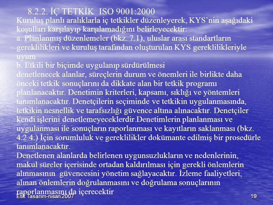 Etik Tasarım-nisan 200719 8.2.2. İÇ TETKİK ISO 9001:2000 Kuruluş planlı aralıklarla iç tetkikler düzenleyerek, KYS'nin aşağıdaki koşulları karşılayıp