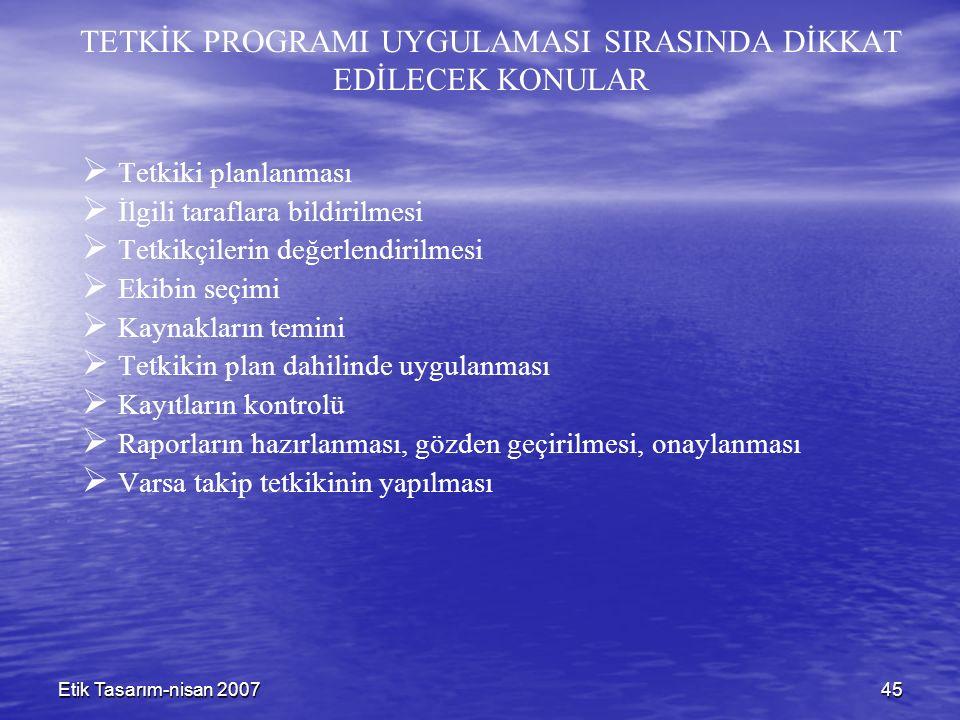Etik Tasarım-nisan 200745 TETKİK PROGRAMI UYGULAMASI SIRASINDA DİKKAT EDİLECEK KONULAR   Tetkiki planlanması   İlgili taraflara bildirilmesi   T