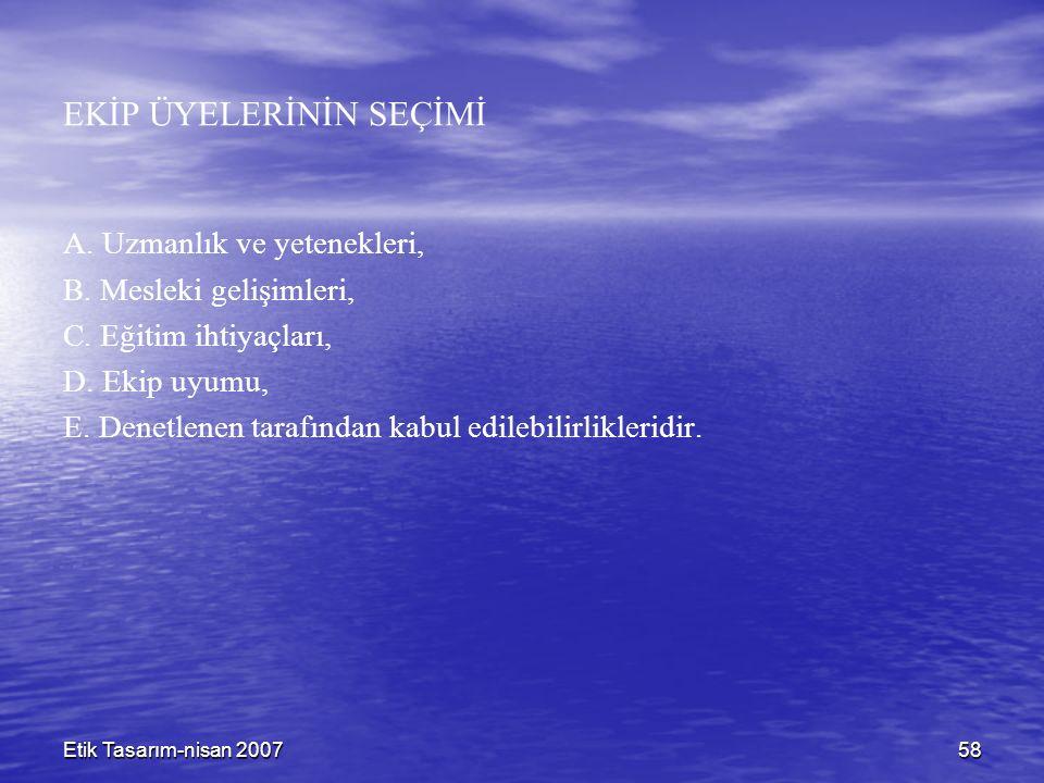 Etik Tasarım-nisan 200758 EKİP ÜYELERİNİN SEÇİMİ A.