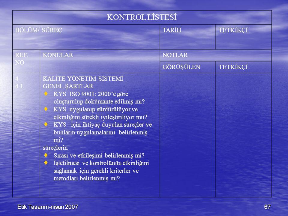 Etik Tasarım-nisan 200767 KONTROL LİSTESİ BÖLÜM/ SÜREÇTARİHTETKİKÇİ REF. NO KONULARNOTLAR GÖRÜŞÜLENTETKİKÇİ 4 4.1 KALİTE YÖNETİM SİSTEMİ GENEL ŞARTLAR