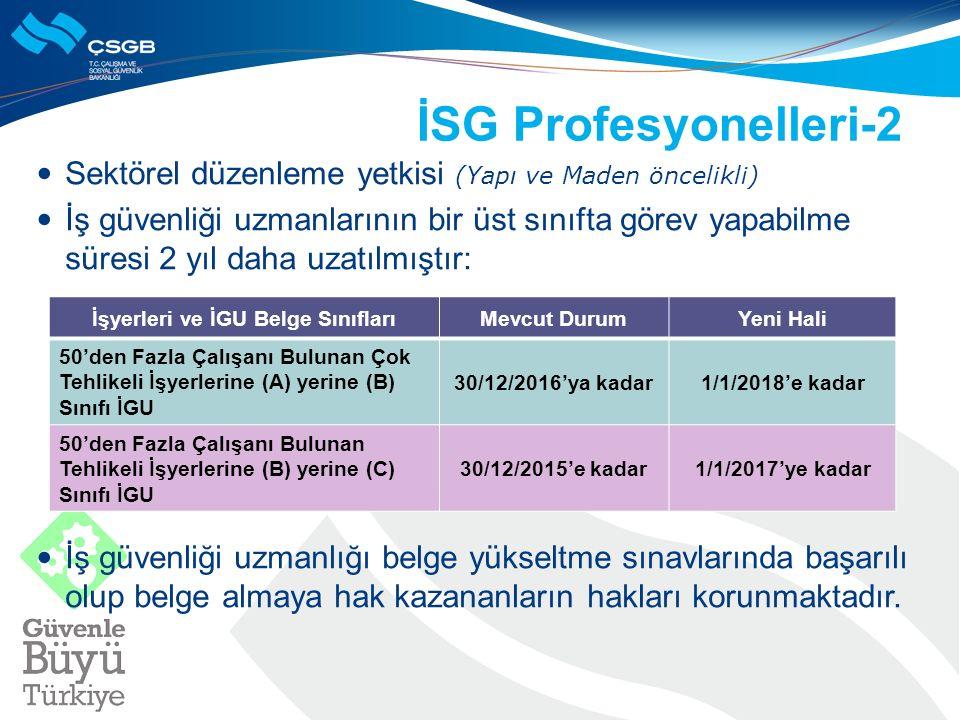 İSG Profesyonelleri-2 Sektörel düzenleme yetkisi (Yapı ve Maden öncelikli) İş güvenliği uzmanlarının bir üst sınıfta görev yapabilme süresi 2 yıl daha