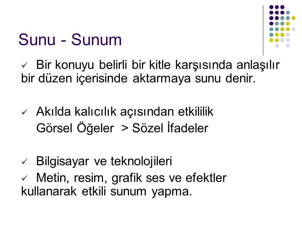 Sunu - Sunum Bir konuyu belirli bir kitle karşısında anlaşılır bir düzen içerisinde aktarmaya sunu denir. Akılda kalıcılık açısından etkililik Görsel