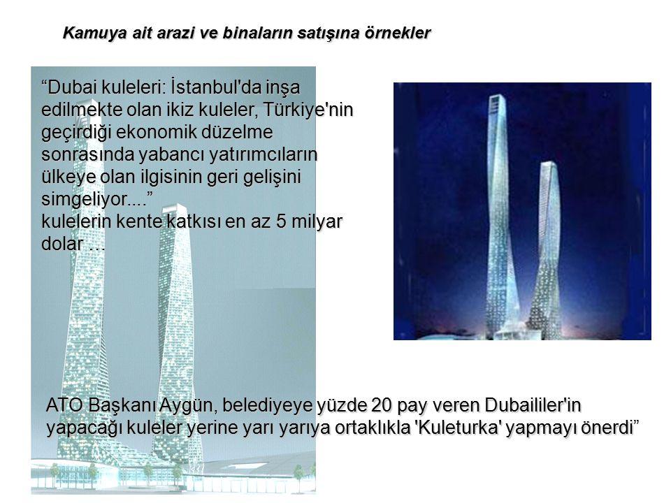 Dubai kuleleri: İstanbul da inşa edilmekte olan ikiz kuleler, Türkiye nin geçirdiği ekonomik düzelme sonrasında yabancı yatırımcıların ülkeye olan ilgisinin geri gelişini simgeliyor.... kulelerin kente katkısı en az 5 milyar dolar … ATO Başkanı Aygün, belediyeye yüzde 20 pay veren Dubaililer in yapacağı kuleler yerine yarı yarıya ortaklıkla Kuleturka yapmayı önerdi yapacağı kuleler yerine yarı yarıya ortaklıkla Kuleturka yapmayı önerdi Kamuya ait arazi ve binaların satışına örnekler