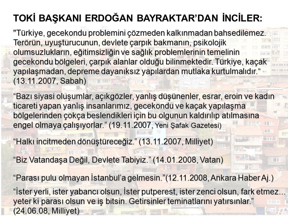 Türkiye, gecekondu problemini çözmeden kalkınmadan bahsedilemez.