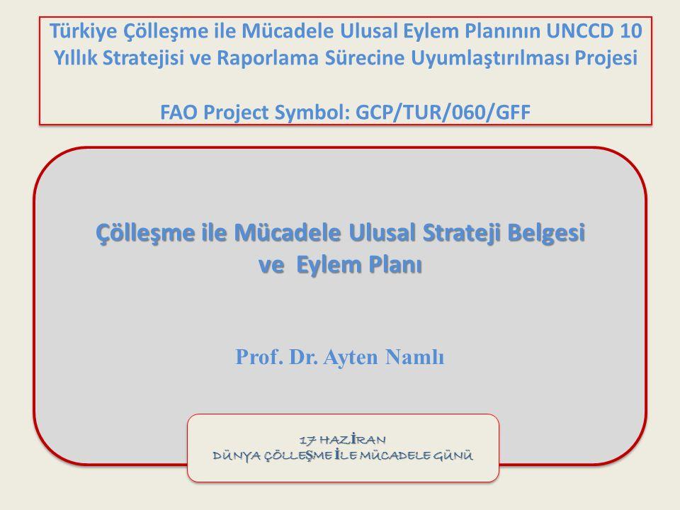 Türkiye Çölleşme ile Mücadele Ulusal Eylem Planının UNCCD 10 Yıllık Stratejisi ve Raporlama Sürecine Uyumlaştırılması Projesi FAO Project Symbol: GCP/TUR/060/GFF Çölleşme ile Mücadele Ulusal Strateji Belgesi ve Eylem Planı Prof.