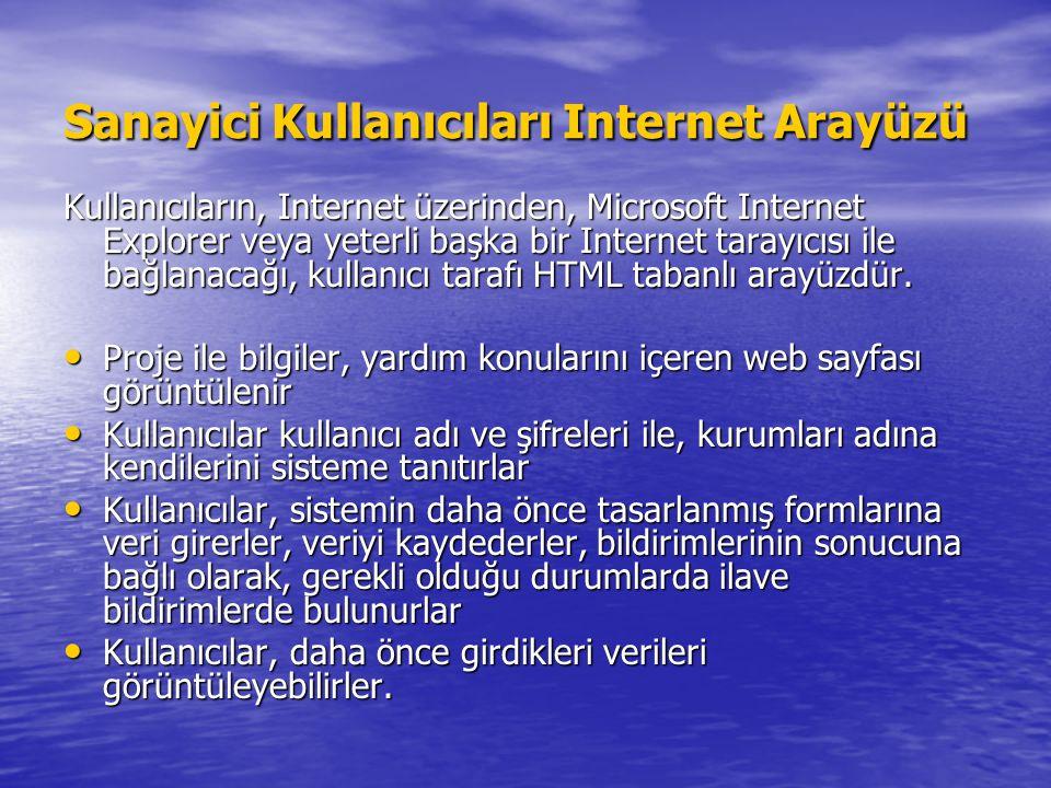 Sanayici Kullanıcıları Internet Arayüzü Kullanıcıların, Internet üzerinden, Microsoft Internet Explorer veya yeterli başka bir Internet tarayıcısı ile