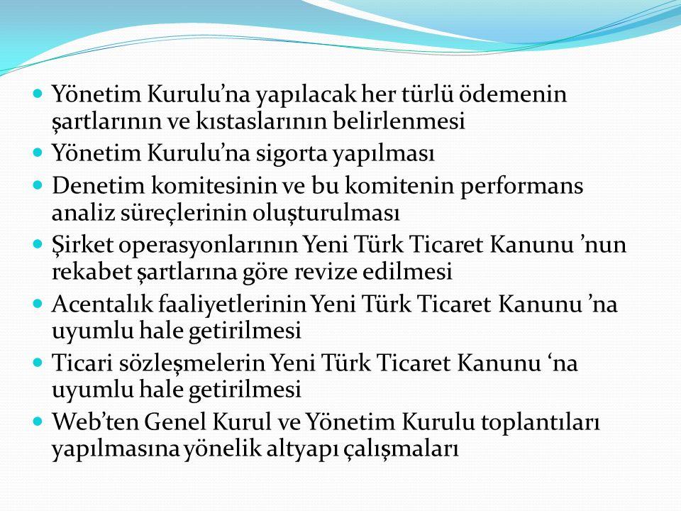 Yönetim Kurulu'na yapılacak her türlü ödemenin şartlarının ve kıstaslarının belirlenmesi Yönetim Kurulu'na sigorta yapılması Denetim komitesinin ve bu komitenin performans analiz süreçlerinin oluşturulması Şirket operasyonlarının Yeni Türk Ticaret Kanunu 'nun rekabet şartlarına göre revize edilmesi Acentalık faaliyetlerinin Yeni Türk Ticaret Kanunu 'na uyumlu hale getirilmesi Ticari sözleşmelerin Yeni Türk Ticaret Kanunu 'na uyumlu hale getirilmesi Web'ten Genel Kurul ve Yönetim Kurulu toplantıları yapılmasına yönelik altyapı çalışmaları