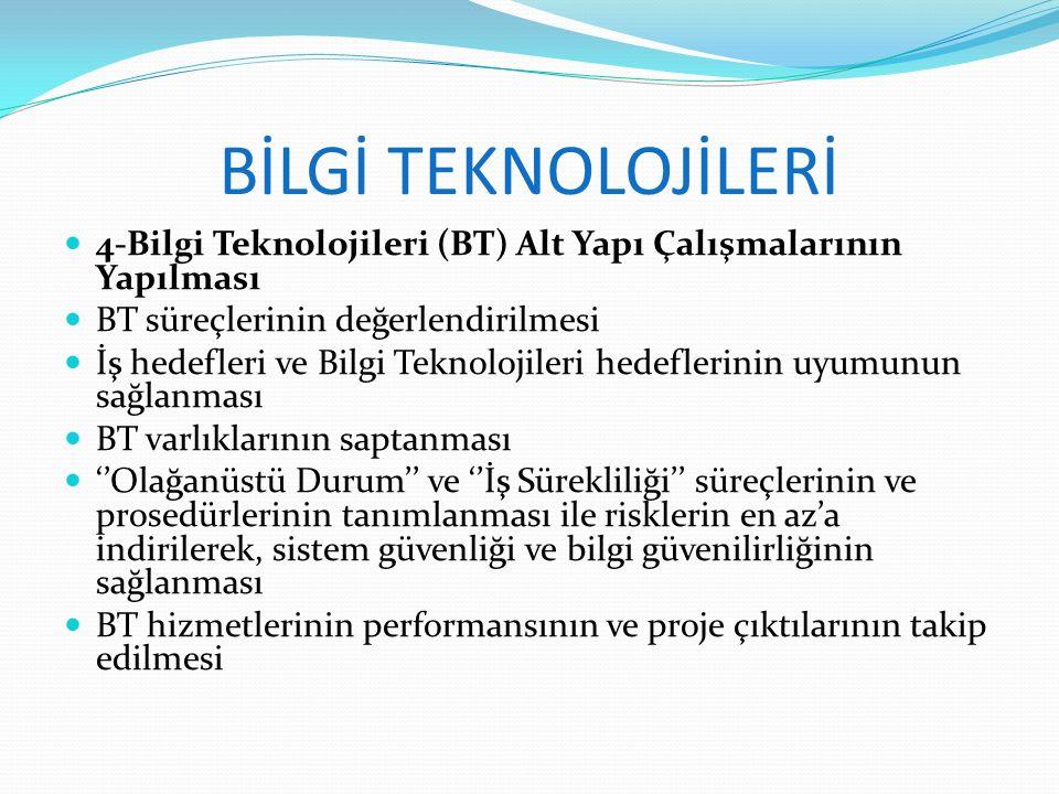 BİLGİ TEKNOLOJİLERİ 4-Bilgi Teknolojileri (BT) Alt Yapı Çalışmalarının Yapılması BT süreçlerinin değerlendirilmesi İş hedefleri ve Bilgi Teknolojileri