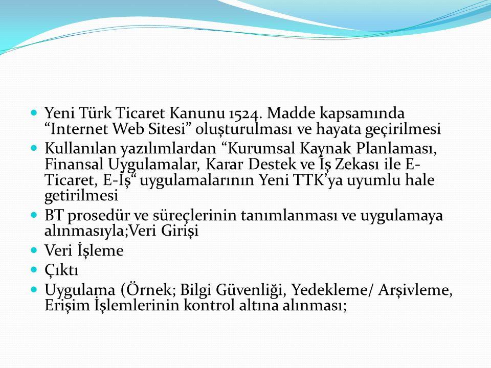 """Yeni Türk Ticaret Kanunu 1524. Madde kapsamında """"Internet Web Sitesi"""" oluşturulması ve hayata geçirilmesi Kullanılan yazılımlardan """"Kurumsal Kaynak Pl"""