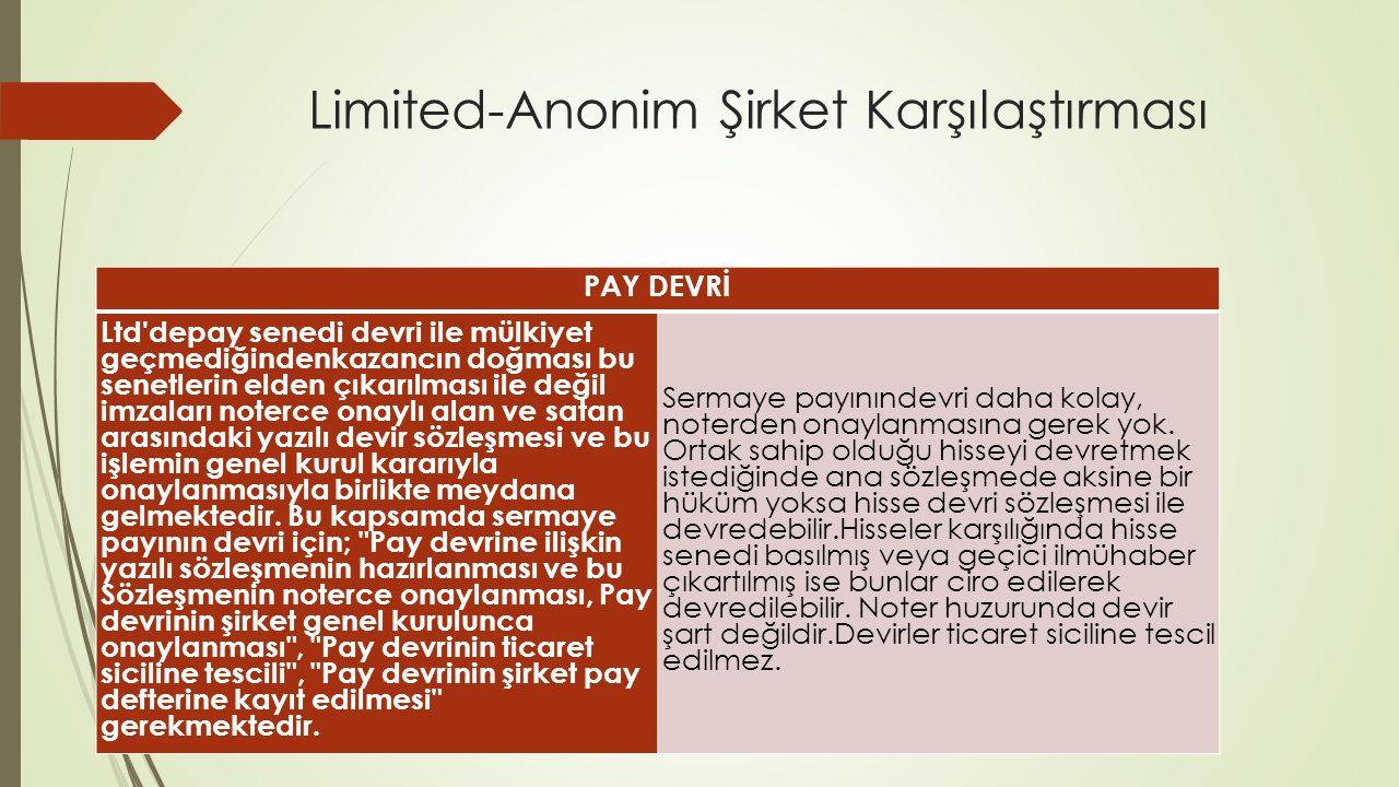 Limited-Anonim Şirket Karşılaştırması PAY DEVRİ Ltd'depay senedi devri ile mülkiyet geçmediğindenkazancın doğması bu senetlerin elden çıkarılması ile