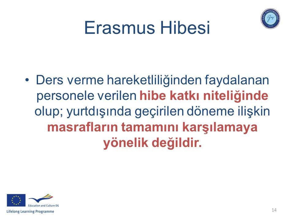 14 Erasmus Hibesi Ders verme hareketliliğinden faydalanan personele verilen hibe katkı niteliğinde olup; yurtdışında geçirilen döneme ilişkin masrafla