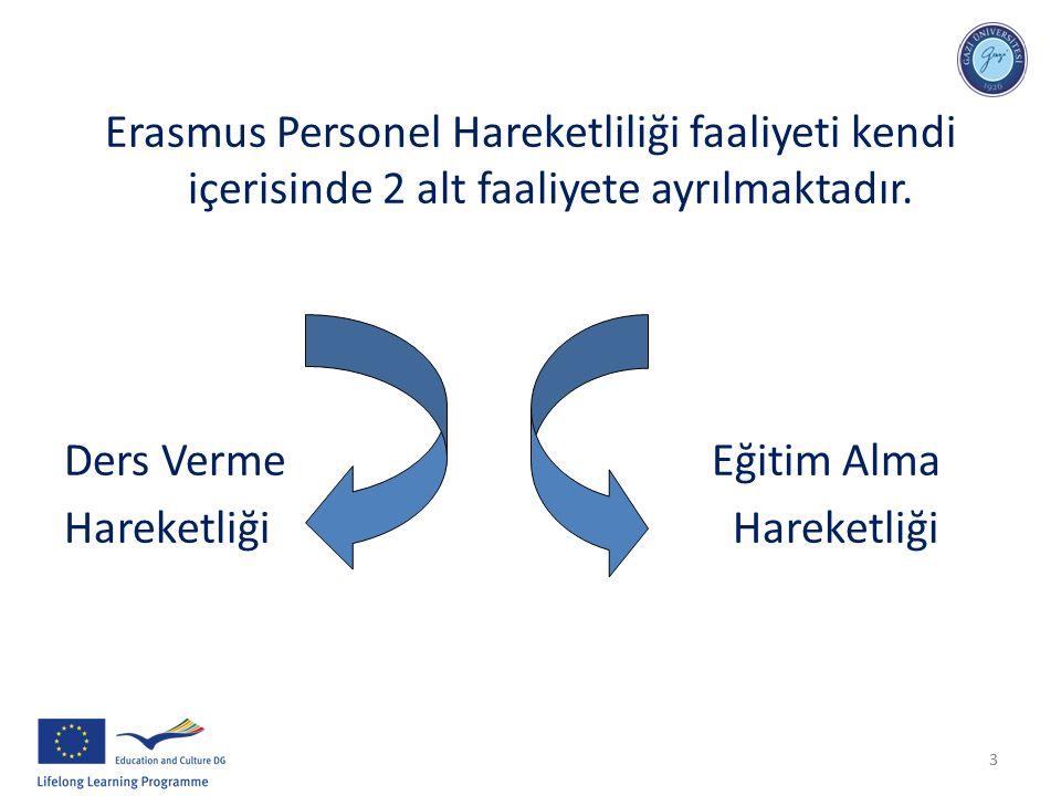 33 Erasmus Personel Hareketliliği faaliyeti kendi içerisinde 2 alt faaliyete ayrılmaktadır. Ders Verme Eğitim Alma Hareketliği