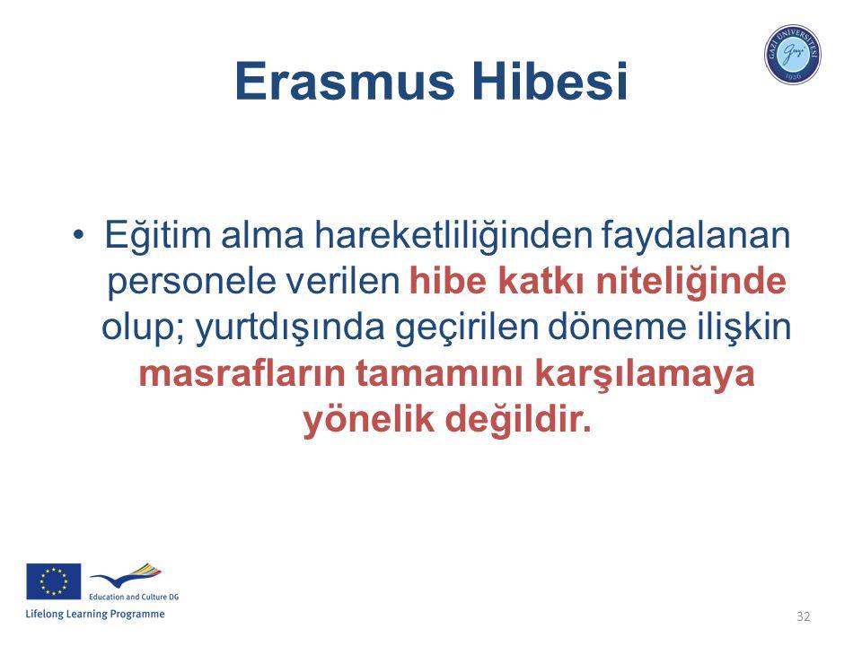 32 Erasmus Hibesi Eğitim alma hareketliliğinden faydalanan personele verilen hibe katkı niteliğinde olup; yurtdışında geçirilen döneme ilişkin masrafl
