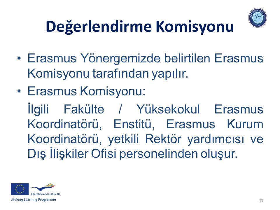 41 Değerlendirme Komisyonu Erasmus Yönergemizde belirtilen Erasmus Komisyonu tarafından yapılır. Erasmus Komisyonu: İlgili Fakülte / Yüksekokul Erasmu