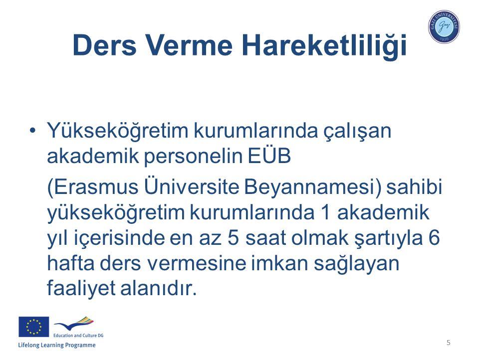 55 Ders Verme Hareketliliği Yükseköğretim kurumlarında çalışan akademik personelin EÜB (Erasmus Üniversite Beyannamesi) sahibi yükseköğretim kurumları