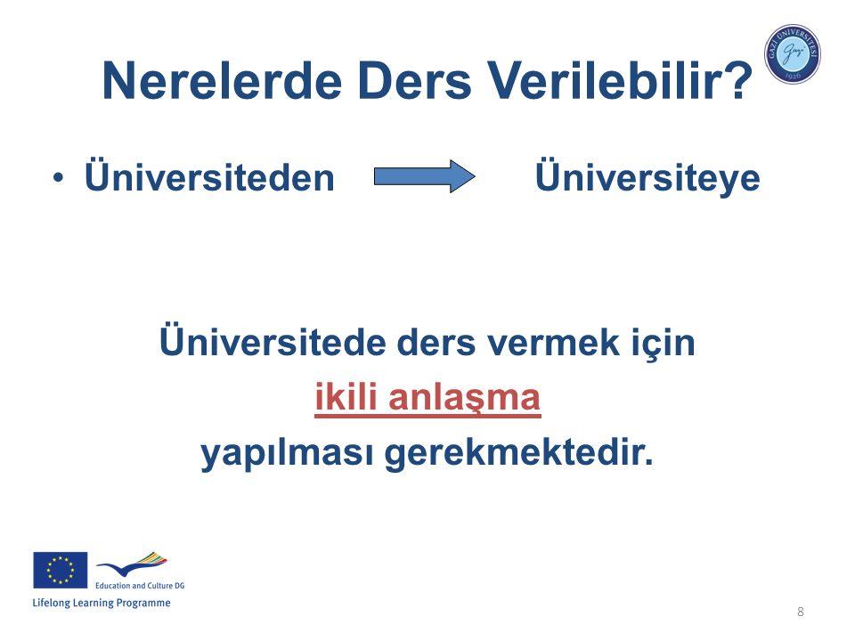8 Nerelerde Ders Verilebilir? Üniversiteden Üniversiteye Üniversitede ders vermek için ikili anlaşma yapılması gerekmektedir.