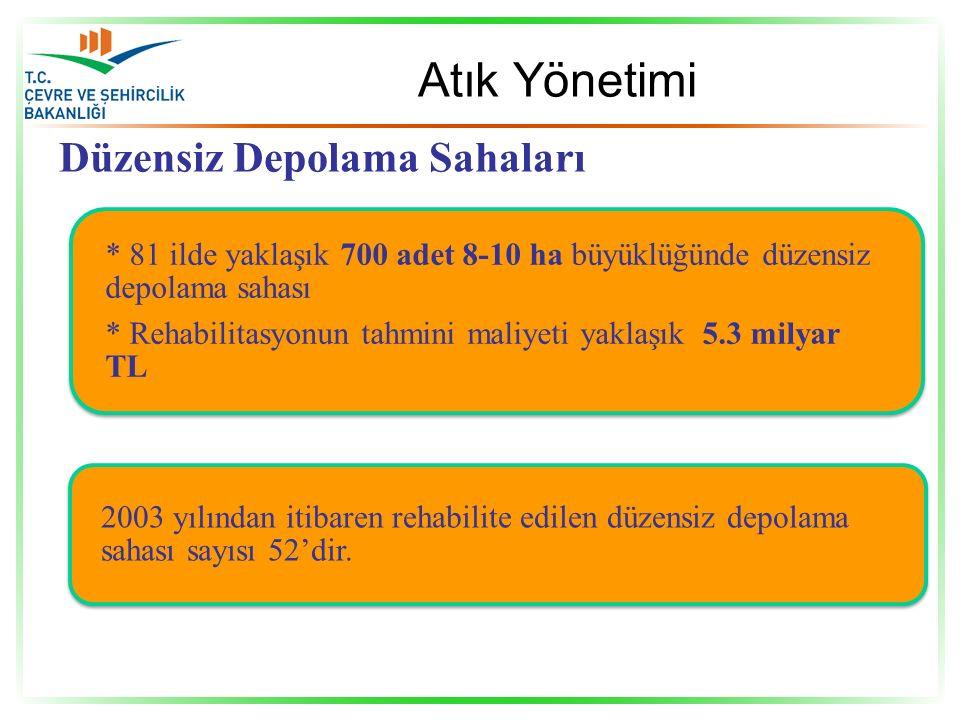 * 81 ilde yaklaşık 700 adet 8-10 ha büyüklüğünde düzensiz depolama sahası * Rehabilitasyonun tahmini maliyeti yaklaşık 5.3 milyar TL 2003 yılından itibaren rehabilite edilen düzensiz depolama sahası sayısı 52'dir.